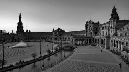 Seville, Spain - 10 February 2020 : Black and White Photography of Plaza de Espana Spain Square Architecture Wide angle View in Beautiful Seville Spain City Center