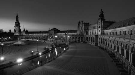 Seville, Spain - 10 February 2020 :Plaza de Espana Spain Square Architecture Wide angle View Sunset in Beautiful Seville Spain City Center