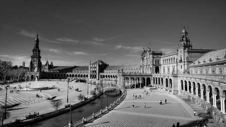 Seville, Spain - 10 February 2020 :Black and White Photography of Plaza de Espana Spain Square Architecture Top View in Beautiful Seville Spain City Center