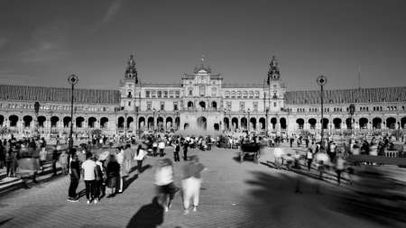 Seville, Spain - 10 February 2020 :Black and White Photography of Plaza de Espana Spain Square Architecture Main Entrance View in Beautiful Seville Spain City Center