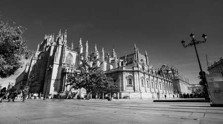 Seville, Spain - 10 February 2020 :Black and White Photography of Seville Cathedral The biggest Ghotic Cathedral in Beautiful Seville Spain City Center