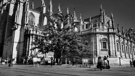 Seville, Spain - 10 February 2020 : Black and White Photography of Seville Cathedral The biggest Ghotic Cathedral in Beautiful Seville Spain City Center