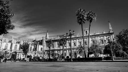 Seville, Spain - 10 February 2020 :Black and White Photography of Architecture on the Main Boulevard in Beautiful Seville Spain City Center