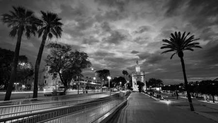 Seville, Spain - 10 February 2020 :Black and White Photography of View of Golden Tower Torre del Oro at Sunset in Beautiful Seville Spain City Center