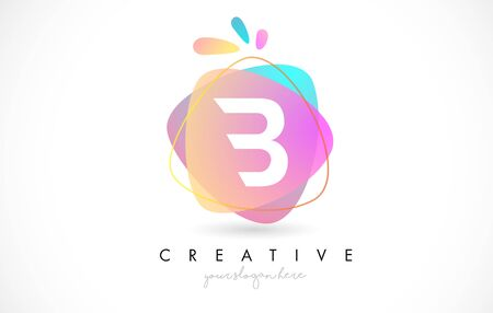 B Letter Logo Design with Vibrant Colorful Splash rounded shapes. Pink and Blue Orange abstract Design Letter Icon Vector Illustration.