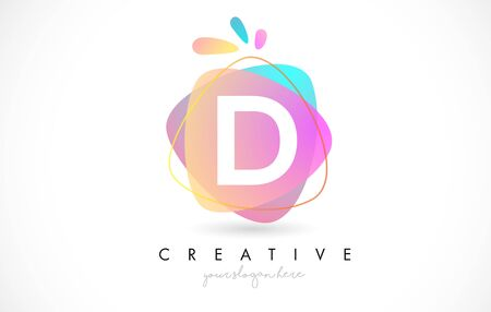 D Letter Logo Design with Vibrant Colorful Splash rounded shapes. Pink and Blue Orange abstract Design Letter Icon Vector Illustration.