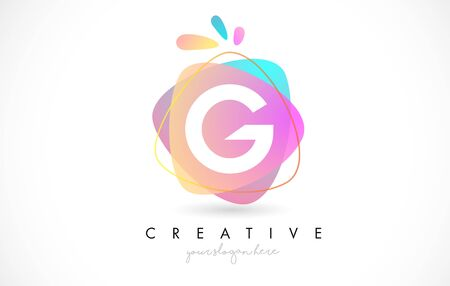 G Letter Logo Design with Vibrant Colorful Splash rounded shapes. Pink and Blue Orange abstract Design Letter Icon Vector Illustration.