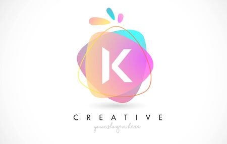 K Letter Logo Design with Vibrant Colorful Splash rounded shapes. Pink and Blue Orange abstract Design Letter Icon Vector Illustration.
