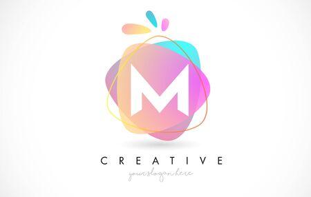M Letter Logo Design with Vibrant Colorful Splash rounded shapes. Pink and Blue Orange abstract Design Letter Icon Vector Illustration. Illustration