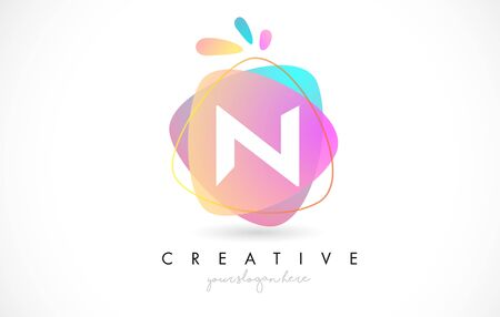 N Letter Logo Design with Vibrant Colorful Splash rounded shapes. Pink and Blue Orange abstract Design Letter Icon Vector Illustration.