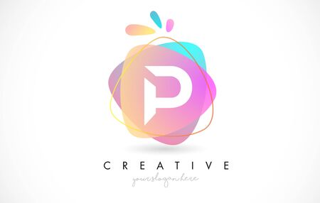 P Letter Logo Design with Vibrant Colorful Splash rounded shapes. Pink and Blue Orange abstract Design Letter Icon Vector Illustration.