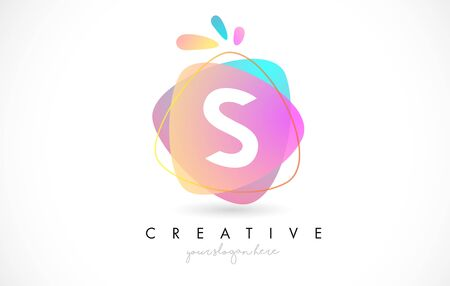 S Letter Logo Design with Vibrant Colorful Splash rounded shapes. Pink and Blue Orange abstract Design Letter Icon Vector Illustration.