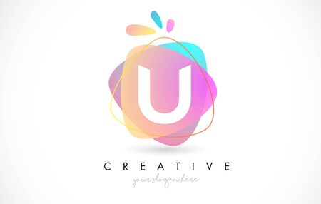 U Letter Logo Design with Vibrant Colorful Splash rounded shapes. Pink and Blue Orange abstract Design Letter Icon Vector Illustration.