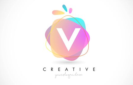 V Letter Logo Design with Vibrant Colorful Splash rounded shapes. Pink and Blue Orange abstract Design Letter Icon Vector Illustration.