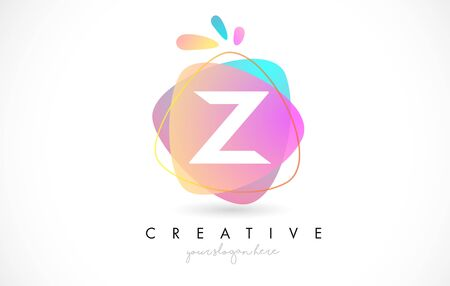 Z Letter Logo Design with Vibrant Colorful Splash rounded shapes. Pink and Blue Orange abstract Design Letter Icon Vector Illustration.