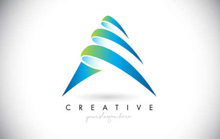 Letter A Logo with Creative Slices and Blue Green Colors Vector Illustration.