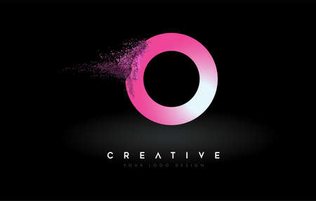 O Letter Logo with Dispersion Effect and Purple Pink Powder Particles Expanding Ash Vector Illustration.