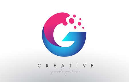 G Letter Design with Creative Dots Bubble Circles and Blue Pink Colors Vector Illustration. Vektoros illusztráció