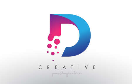 D Letter Design with Creative Dots Bubble Circles and Blue Pink Colors Vector Illustration.
