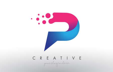 P Letter Design with Creative Dots Bubble Circles and Blue Pink Colors Vector Illustration. Vektoros illusztráció