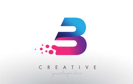 B Letter Design with Creative Dots Bubble Circles and Blue Pink Colors Vector Illustration. Vektoros illusztráció
