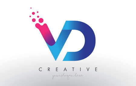 VD Letter Design with Creative Dots Bubble Circles and Blue Pink Colors Vector Illustration.