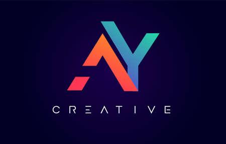 AQ Logo Letter Design with Modern Creative Concept and Orange Blue Colors Vector Illustration Logo