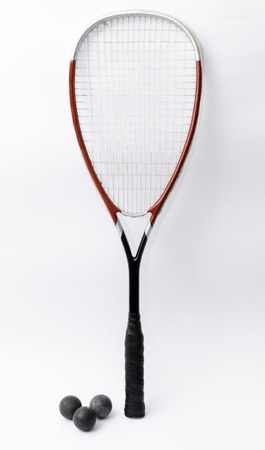 Squash racket isolated on white with balls 스톡 콘텐츠