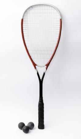 racquetball: Raqueta de squash aislado en blanco con las bolas Foto de archivo