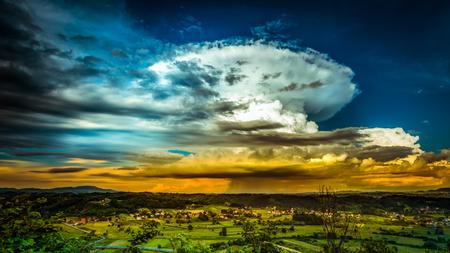 cloud scape: Impressive cloud scape over the rural part of Croatia