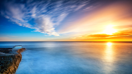 Long exposure sunset on the beach in Mali Losinj, Croatia Stok Fotoğraf