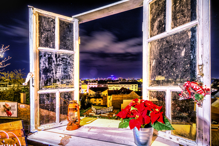 WIndow view of Zabreb City scape on Advent time