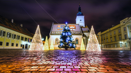 Christmas light in front of the St. Marko's church in Upper town in Zagreb