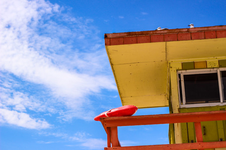 baywatch: Baywatch cabin with portion of the sky Stock Photo