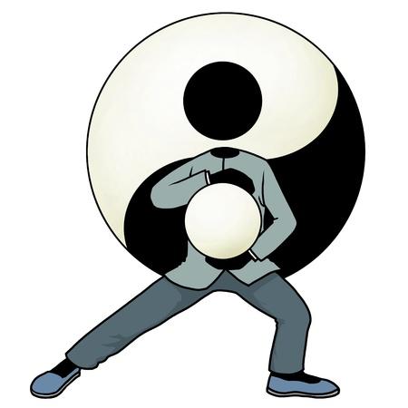 Silhouette-man kungfu action icon - tai chi photo