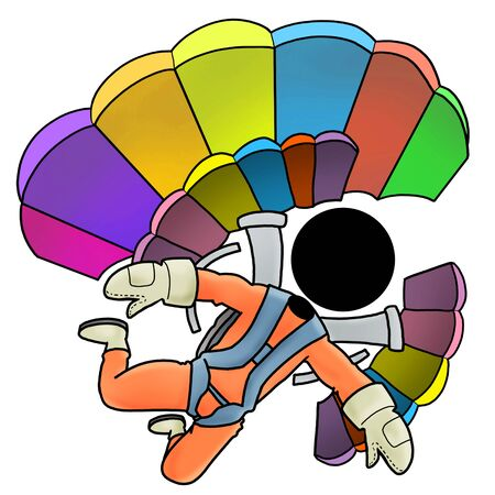 skydiver: Silhouette-man extreme sport icon - skydiver Stock Photo