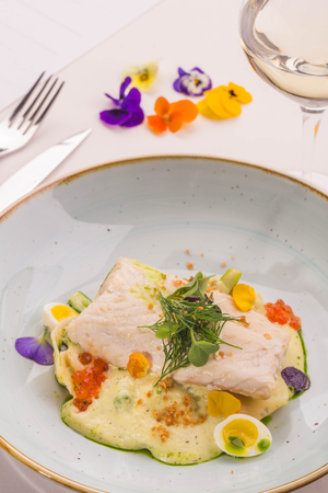sturgeon: Sturgeon, dumplings with smoked sterlet, asparagus, spinach, spring potato sauce with dill