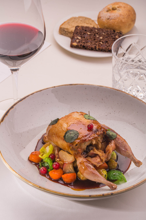 The stuffed quail with sauce from a lavender, root crops, red currant