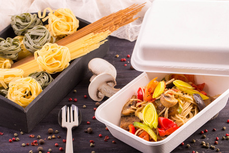 haricot: Spaghetti with eggplants and sweet pepper, champignon mushrooms and tomatoes