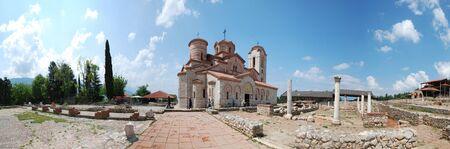 panteleimon: Panorama of Plaosnik and St   Clement s Church - St  Panteleimon, Ohrid, Macedonia Stock Photo