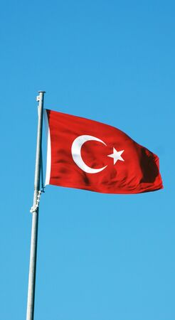 facing right: Turkish flag on the flagpole facing right Stock Photo