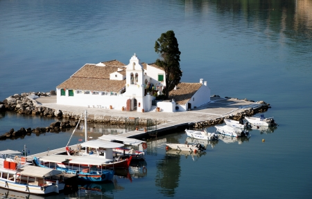 Vlacherna Monastery and Mouse island on Corfu, Greece