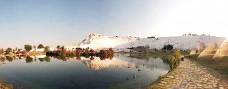 pamuk: Landscape of Pamukkale, Turkey, panoramic view