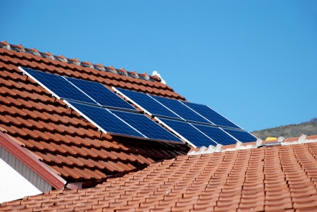 installed: Solar panels installed on the roof of the house