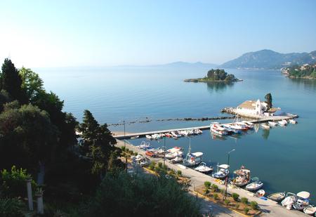 dinghies:  Monastery Vlahelna, Kerkyra, Corfu Island, Greece