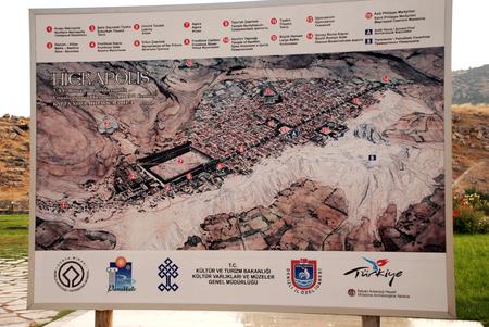pamuk: Mappa della localit� Hieropolis vicino Pamuk Kale, Turchia