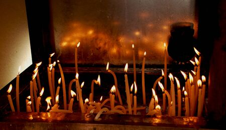 Burned Candles In The Christian Church In Macedonia Stock Photo
