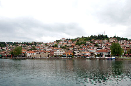 Ohrid lake and an old town of Ohrid photo