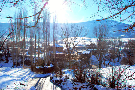 specificity: Winter landscape of a village in Macedonia
