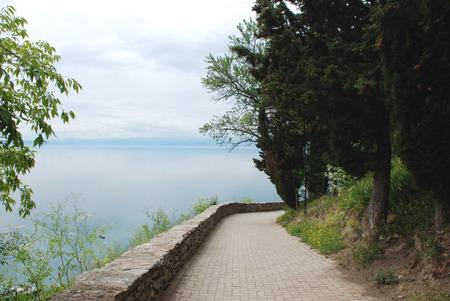 southeast europe: Looking to the lake Lake Ohrid, Ohrid, Macedonia Stock Photo